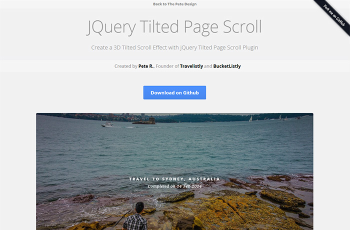 Jquery 3d tiltedpage - Jquery scroll to div ...